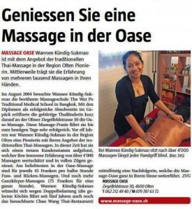 Massage-Oase im Stadtanzeiger